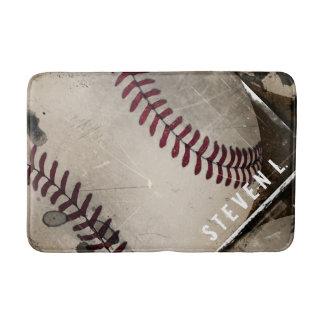 Cool Grunge Baseball Personalized Bath Mat