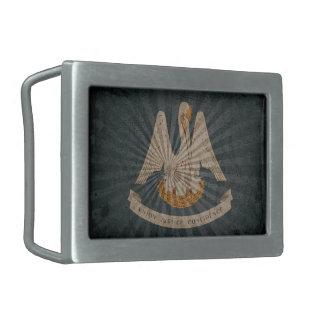 Cool Grunge Louisiana Flag Rectangular Belt Buckles