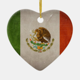 Cool Grunge Mexico Mexican Flag Ceramic Heart Ornament