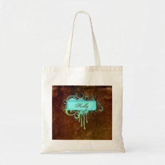 Cool Grunge Monogram Copper Paint Drip Tote Bag