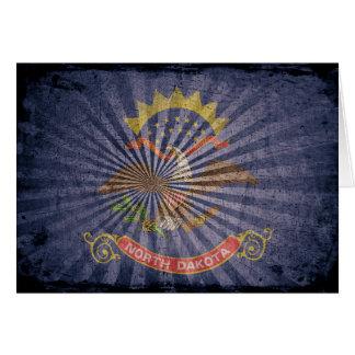 Cool Grunge North Dakota Flag Greeting Card