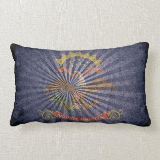 Cool Grunge North Dakota Flag Throw Pillow