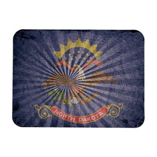 Cool Grunge North Dakota Flag Flexible Magnet
