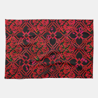 Cool Grunge Red Medieval Print Kitchen Towel