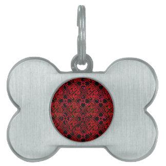 Cool Grunge Red Medieval Print Pet Tags