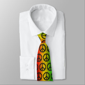 Cool Grunge Reggae Rasta Peace Symbol Neck Tie
