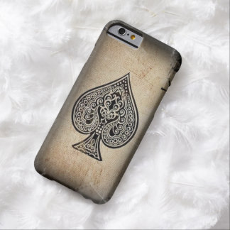 Cool Grunge Retro Artistic Poker Ace Of Spades Barely There iPhone 6 Case