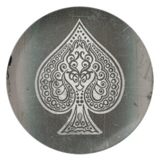 Cool Grunge Retro Artistic Poker Ace Of Spades Dinner Plate