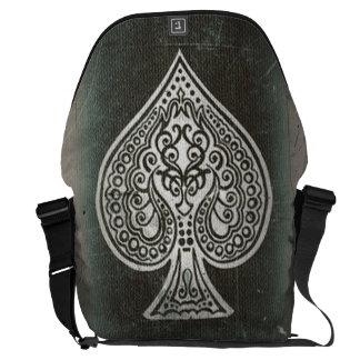 Cool Grunge Retro Artistic Poker Ace Of Spades Messenger Bag