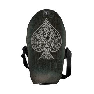 Cool Grunge Retro Artistic Poker Ace Of Spades Messenger Bags