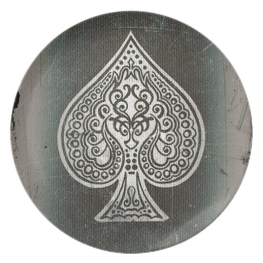 Cool Grunge Retro Artistic Poker Ace Of Spades Plate