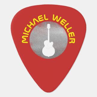 cool guitar logo on red guitar pick