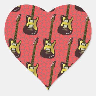 Cool Guitar Pattern Design Heart Sticker