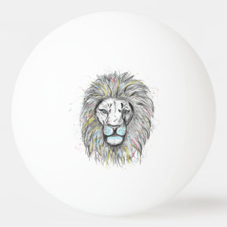 Cool hand drawn sketch and watercolor Lion design Ping Pong Ball