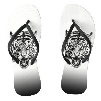 Cool Hand Drawn Tiger Summer Flip Flops