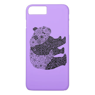 Cool Hand Illustrated Artsy Floral Panda Bear iPhone 7 Plus Case