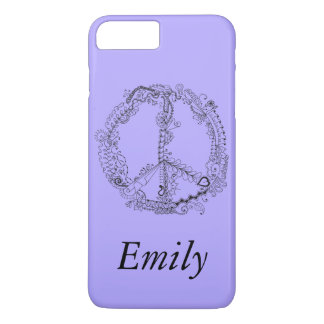 Cool Hand Illustrated Artsy Floral Peace Sign iPhone 7 Plus Case