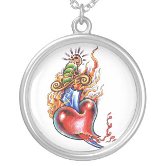 Cool Heart and Dagger in Flames tattoo Silver Plated Necklace
