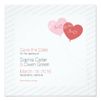 """Cool Heart Balloons Wedding Save The Date - Square 5.25"""" Square Invitation Card"""