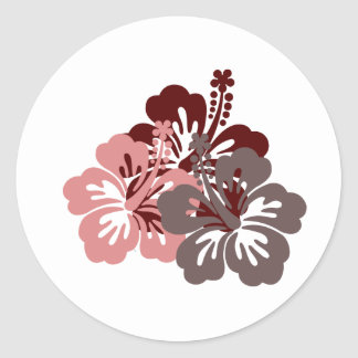 cool hibiscus classic round sticker