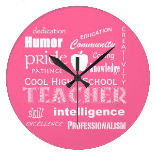 Cool High School Teacher Attributes+Apple Wall Clock