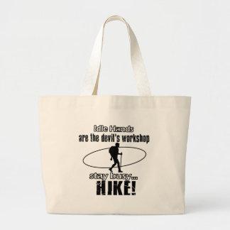 Cool hiking designs tote bags