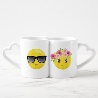 Cool & Hip His and Hers Emoji Coffee Mugs