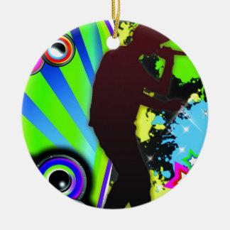 Cool hip hop rapper ceramic ornament