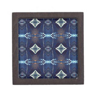 Cool Hip Trendy Blue Tribal Pattern Premium Keepsake Box