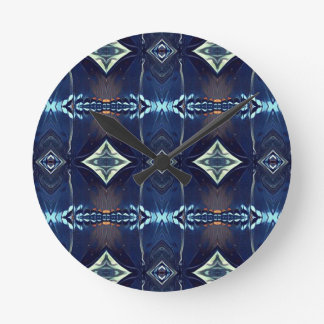 Cool Hip Trendy Blue Tribal Pattern Wall Clocks