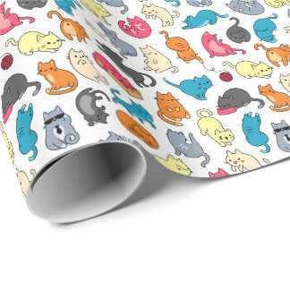 Cool Hipster Cartoon Cats Gift Wrap