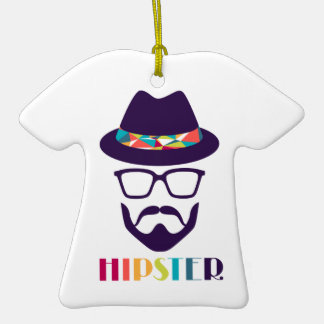 Cool Hipster colourful hat glasses Christmas Tree Ornament
