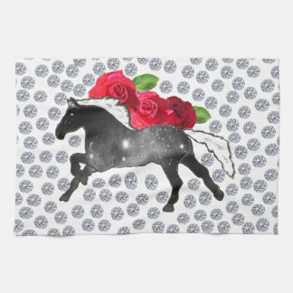 Cool Hipster Diamonds Roses Horse Nebula Galaxy Kitchen Towel