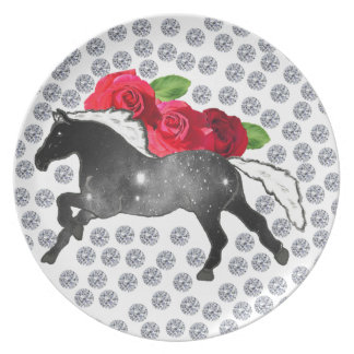 Cool Hipster Diamonds Roses Horse Nebula Galaxy Party Plates