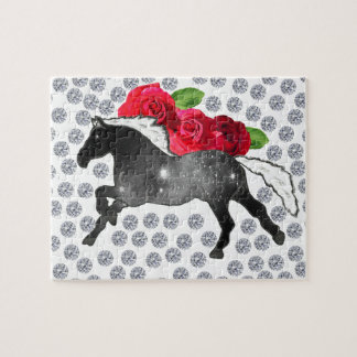 Cool Hipster Diamonds Roses Horse Nebula Galaxy Puzzle