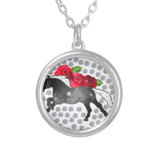 Cool Hipster Diamonds Roses Horse Nebula Galaxy Silver Plated Necklace