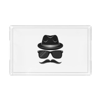 Cool Hipster with mustache, hat and sunglasses Acrylic Tray