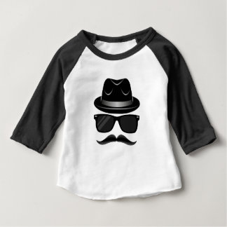 Cool Hipster with mustache, hat and sunglasses Baby T-Shirt