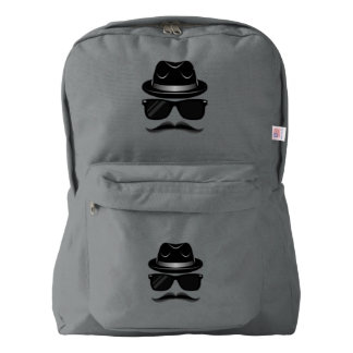 Cool Hipster with mustache, hat and sunglasses Backpack