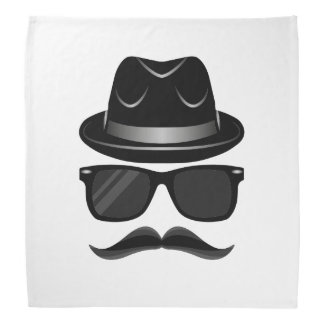 Cool Hipster with mustache, hat and sunglasses Bandana
