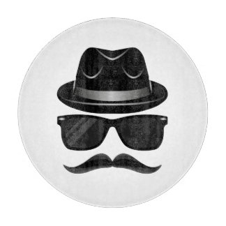 Cool Hipster with mustache, hat and sunglasses Boards