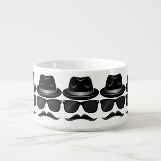 Cool Hipster with mustache, hat and sunglasses Bowl