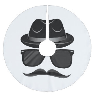 Cool Hipster with mustache, hat and sunglasses Brushed Polyester Tree Skirt