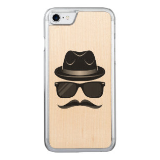 Cool Hipster with mustache, hat and sunglasses Carved iPhone 7 Case