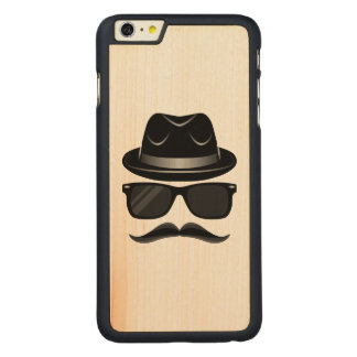 Cool Hipster with mustache, hat and sunglasses Carved® Maple iPhone 6 Plus Case