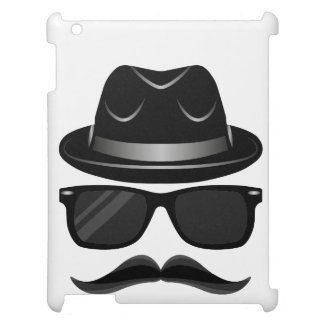 Cool Hipster with mustache, hat and sunglasses Case For The iPad 2 3 4