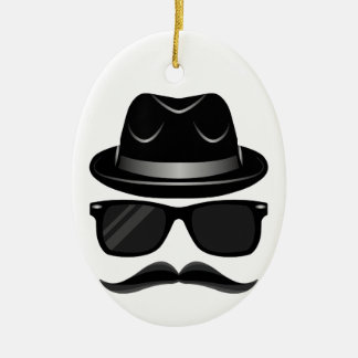 Cool Hipster with mustache, hat and sunglasses Ceramic Oval Ornament