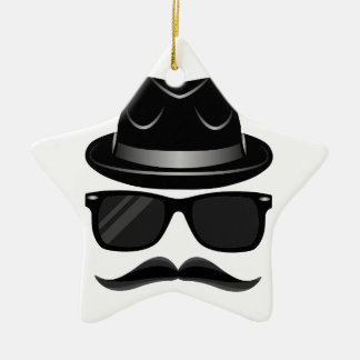 Cool Hipster with mustache, hat and sunglasses Ceramic Star Ornament