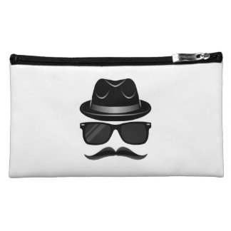 Cool Hipster with mustache, hat and sunglasses Cosmetic Bags