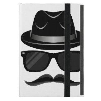 Cool Hipster with mustache, hat and sunglasses Cover For iPad Mini